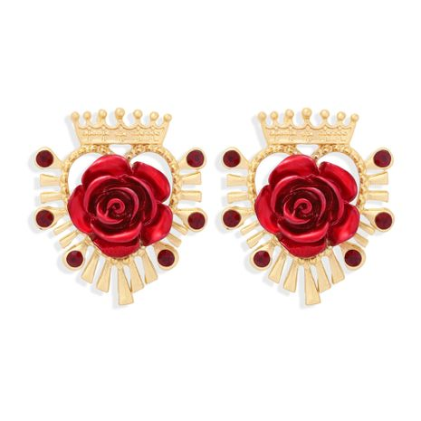Crown Light Luxury Red Rose Pendientes de otoño e invierno NHJQ272362's discount tags
