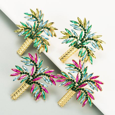 coconut tree alloy inlaid colorful rhinestones earrings NHLN272365's discount tags