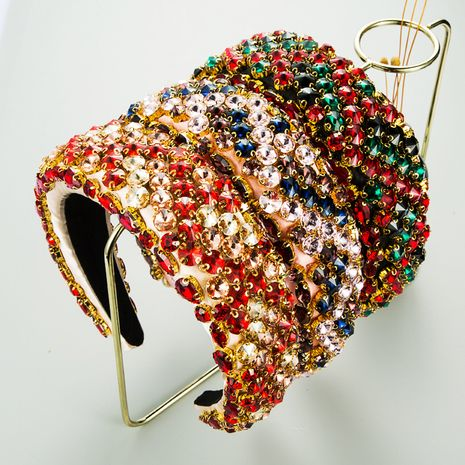 New Geometric Color Mixed Diamond Sponge Wide Side Hairband  NHLN272368's discount tags