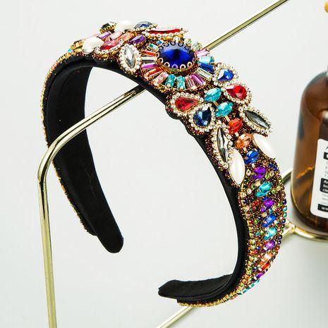retro baroque color rhinestone wide-brimmed full diamond headband  NHLN272376's discount tags