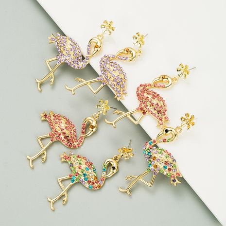creative flamingo long alloy inlaid rhinestone women's earrings  NHLN272378's discount tags