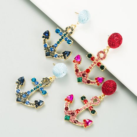 new creative geometric anchor alloy inlaid rhinestones earrings wholesale NHLN272387's discount tags