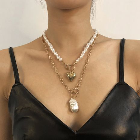 imitation pearl double creative heart geometric necklace NHMD272401's discount tags