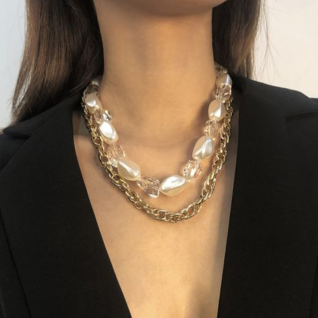 exaggerated crystal pearl necklace  NHMD272399's discount tags