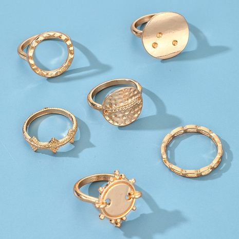 fashion creative exaggerated alloy round disc geometric carved ring 6-piece set NHGY272414's discount tags