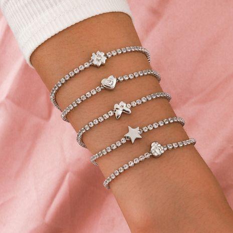 nouveau bracelet de diamant de papillon étoile à cinq branches de fleur de cristal artificiel ensemble de 5 pièces NHPV272438's discount tags