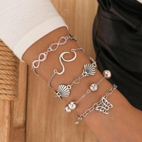 Ensemble de 5 pièces de bracelet de perles de papillon de coquille géométrique de mode NHPV272445's discount tags