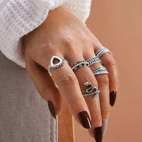 fashion geometric vintage leaf snake ring 6-piece set NHPV272447's discount tags