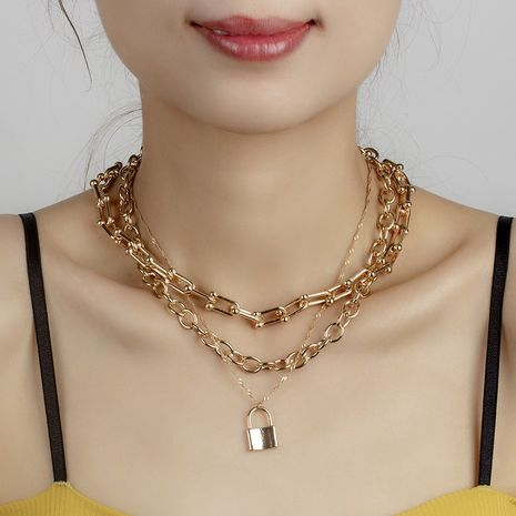 gold lock stacking multi-layer necklace  NHRN272519's discount tags