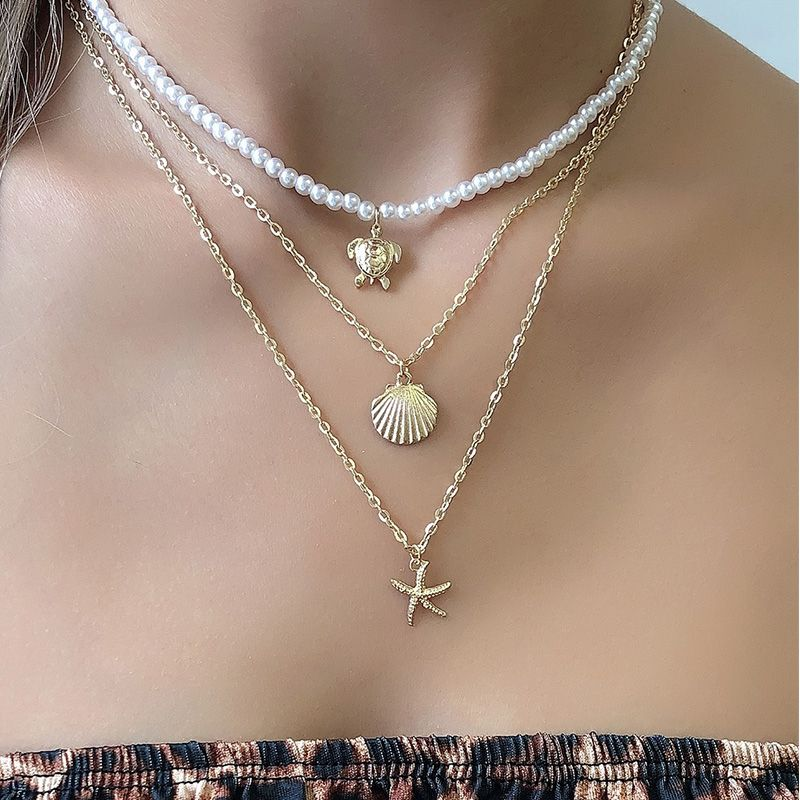 fashion starfish pearl multilayer chain women's necklace  NHAJ272565