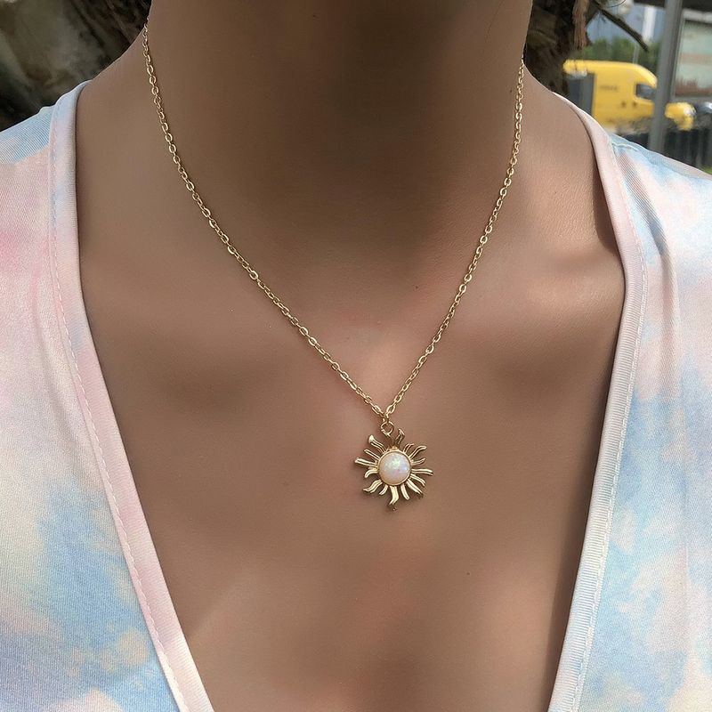 fashion simple retro sun flower pendant multilayer  alloy necklace NHAJ272560