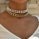 fashion  metal texture pearl double layer womens necklace NHAJ272554