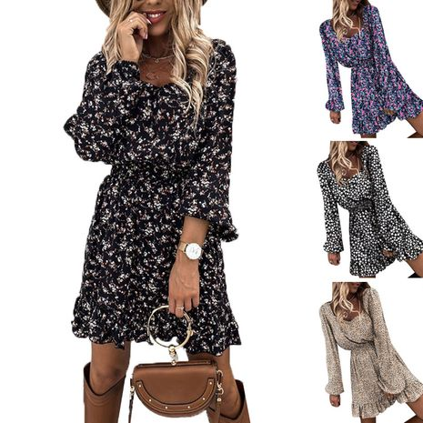 new  long-sleeved elastic waist ruffle print dress NHIS273519's discount tags