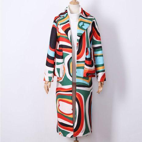 Loose printed windbreaker coat long coat NHUO273522's discount tags