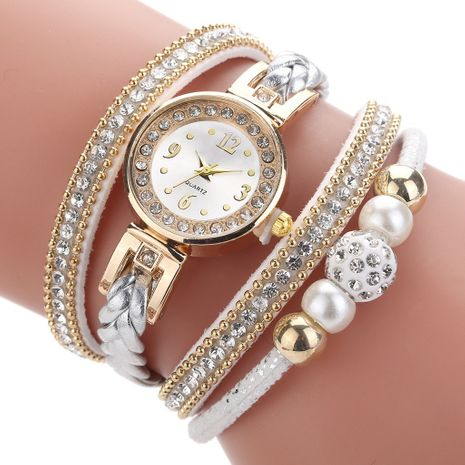 Reloj de correa de PU con cuentas de perlas y diamantes de pulsera redonda de moda NHSS272607's discount tags