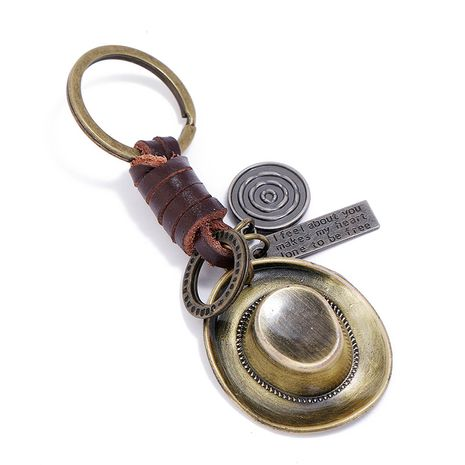 hand-woven retro alloy cowboy hat leather keychain NHPK272636's discount tags