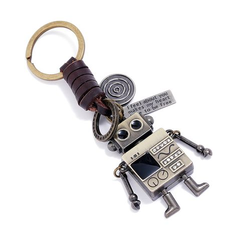 Simple retro woven movable robot cowhide keychain NHPK272637's discount tags