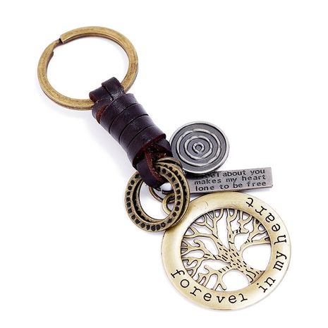 Hand-woven bronze lucky tree leather keychain NHPK272642's discount tags