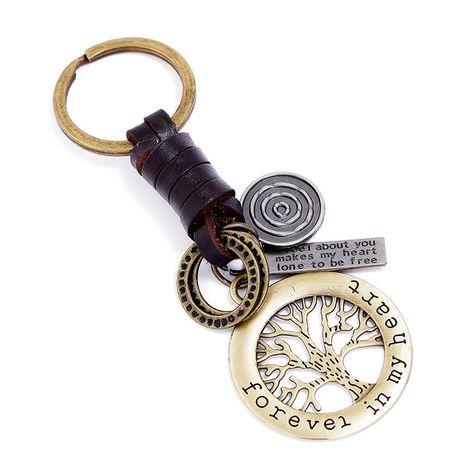 Llavero de cuero de árbol de la suerte de bronce tejido a mano NHPK272642's discount tags