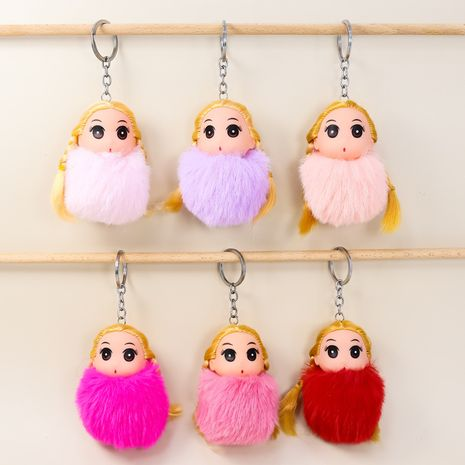 Rex rabbit fur ball blond princess plush doll key chain NHAP272648's discount tags