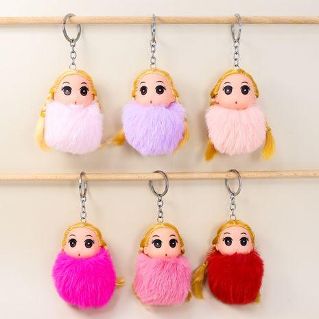 Llavero de muñeca de peluche de princesa rubia bola de piel de conejo rex NHAP272648's discount tags