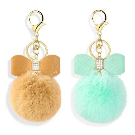 diamond-studded PU cute bow imitation rex rabbit fur ball keychain  NHAP272647's discount tags