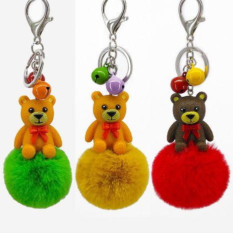 ours pendant résine dessin animé imitation rex lapin fourrure boule porte-clés NHAP272651's discount tags