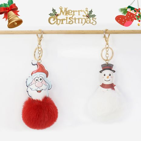 Creative Santa Snowman 8CM Rex Rabbit Fur Ball Keychain  NHAP272656's discount tags