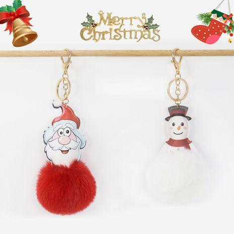Llavero de bola de piel de conejo Rex creativo de muñeco de nieve de 8 cm de Santa NHAP272656's discount tags