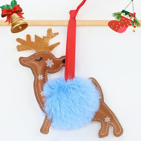 Christmas Tree Decoration 8CM Rex Rabbit Hair Ball Creative Elk keychain  NHAP272657's discount tags