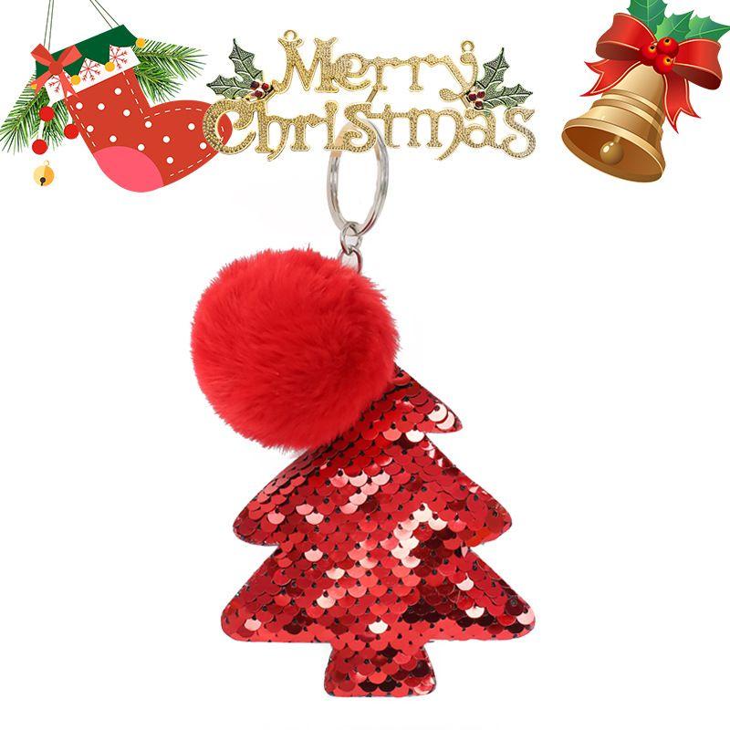 Christmas Tree 5CM Imitation Rex Rabbit Hair Ball Keychain  NHAP272659