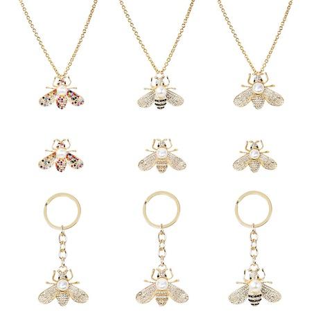Nuevo broche de llavero de collar de abeja de diamantes de aleación de perlas NHAP272660's discount tags
