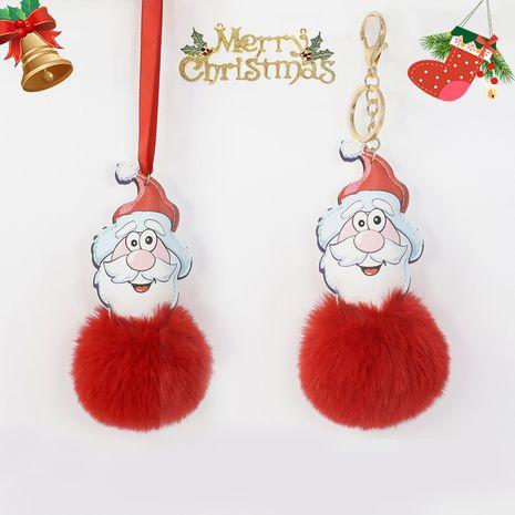 8CM Rex Rabbit Fur Ball Leder Santa Schlüsselbund NHAP272662's discount tags