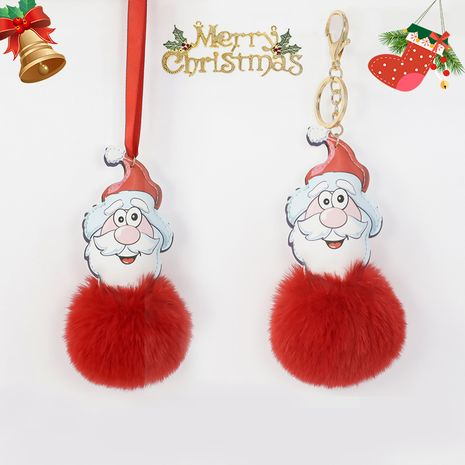 8CM Rex Rabbit Fur Ball Leather Santa Keychain  NHAP272662's discount tags