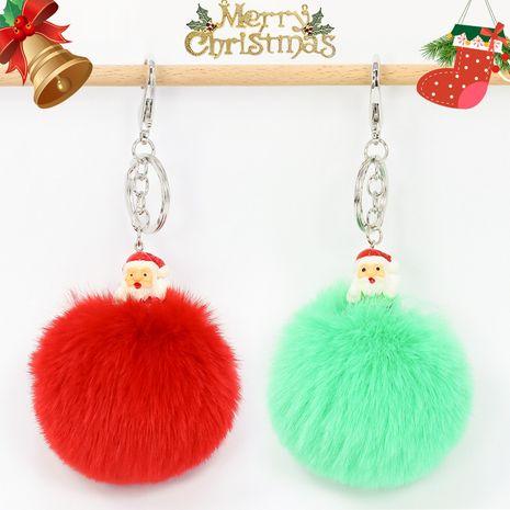 Llavero de bola de piel de conejo rex de imitación de árbol de Navidad de 8 CM NHAP272663's discount tags