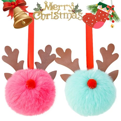 leather sequins  Christmas  8CM imitation rex rabbit fur ball keychain NHAP272664's discount tags