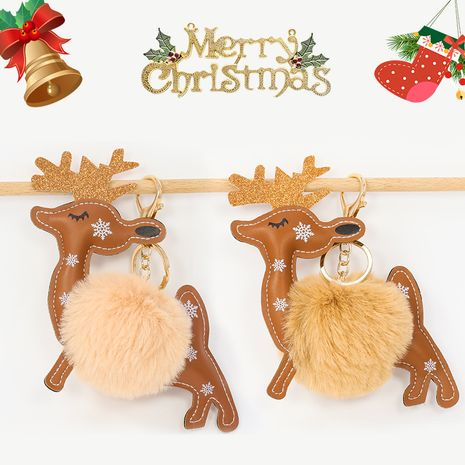 Christmas Red String  8CM Rex Rabbit Hair Ball Creative Elk keychain  NHAP272665's discount tags