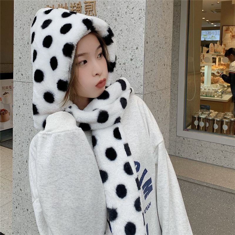 With a hat and scarf one soft girl cute ear cap bib suit winter warmth 2020 autumn and winter new Korea NHCM272728