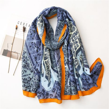 printed silk linen scarf  NHGD272767's discount tags