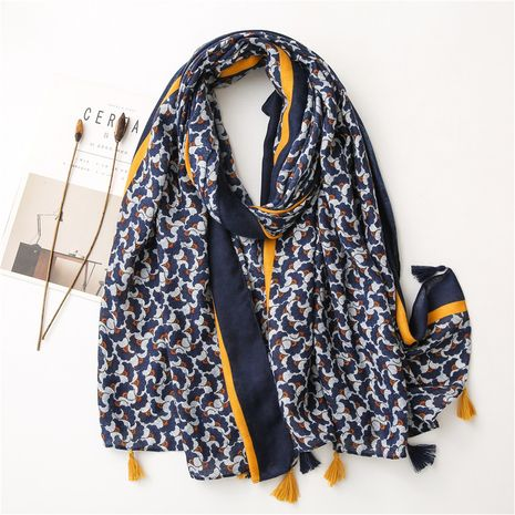 cotton and linen retro small flower blue and white porcelain warm shawl silk scarf  NHGD272768's discount tags