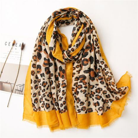 yellow leopard print cotton and linen all-match color matching retro scarf NHGD272769's discount tags