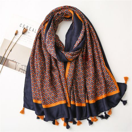 Retro ethnic style small flower creative cotton and linen scarf NHGD272771's discount tags