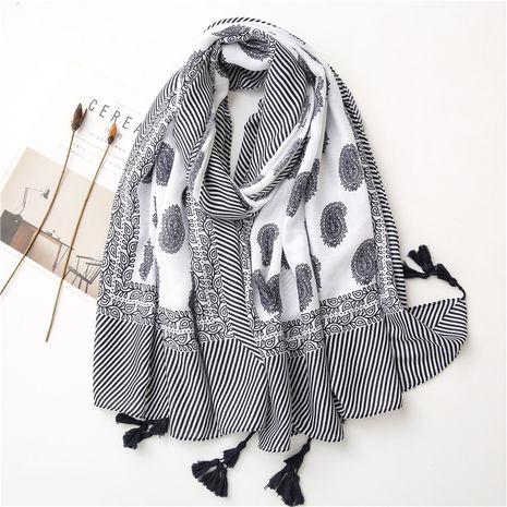 blue and white porcelain ethnic style cotton and linen scarf NHGD272772's discount tags