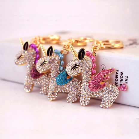 Llavero lindo creativo del coche del unicornio del diamante del cristal de la historieta NHAK272804's discount tags