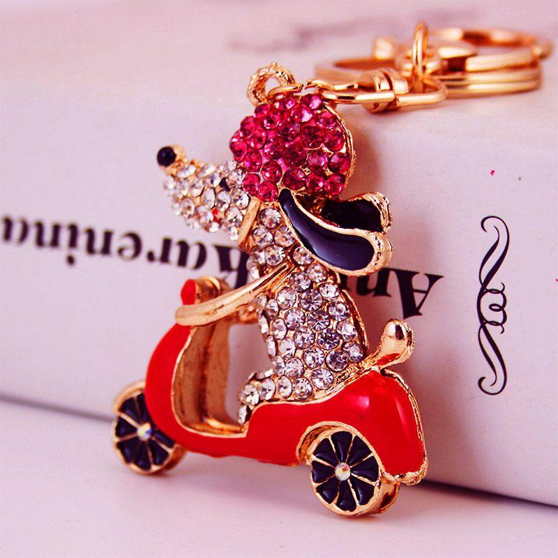 Korea creative cute cartoon biker puppy car keychain  NHAK272808