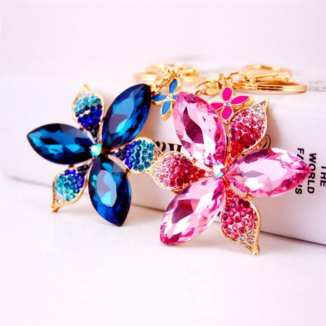 Korean Creative Diamond Crystal Five-leaf Flower Keychain  NHAK272811's discount tags