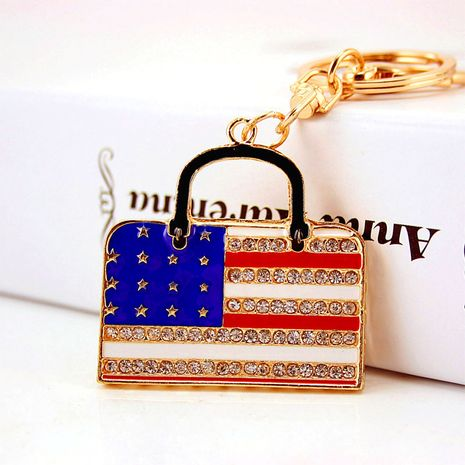 Korean  creative dripping craft  diamond-studded American flag bag keychain  NHAK272813's discount tags