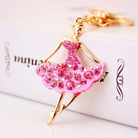 Korean  creative cute diamond ballerina girl car keychain  NHAK272815's discount tags