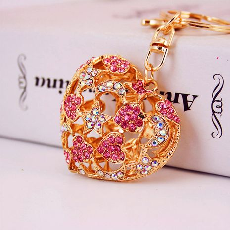 Korean creative diamond-studded crystal hollow keychain NHAK272819's discount tags