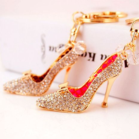 Korean  creative diamond-studded crystal high heels car keychain NHAK272820's discount tags